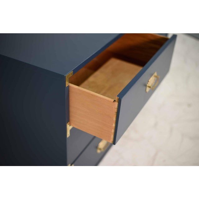 1970s Blue Six Drawer Campaign Dresser or Chest - Newly Painted For Sale - Image 4 of 12
