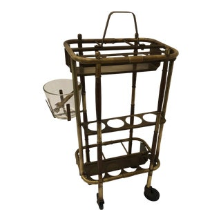 1940s Brass Hotel Bar Cart For Sale