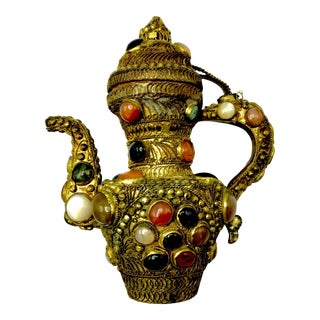 Antique 19th Century Tibetan Copper and Gold Filigree Flagon With Polished Agate Gemstones For Sale
