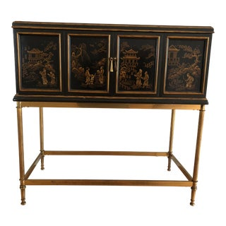 Drexel Heritage Asian Chinoiserie Chest Console Bar Cabinet on Brass Stand For Sale