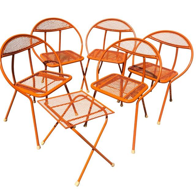Maurizio Tempestini for Salterini 5 Hoop - Radar folding chairs and a small folding table. New bright orange powder coat...