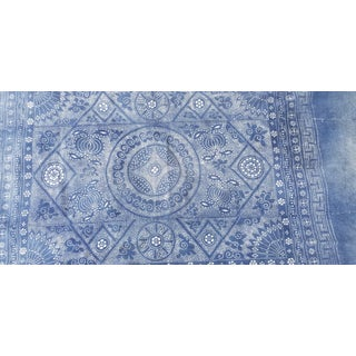 Softly Faded Hand Woven Tribal Indigo Batik Throw For Sale