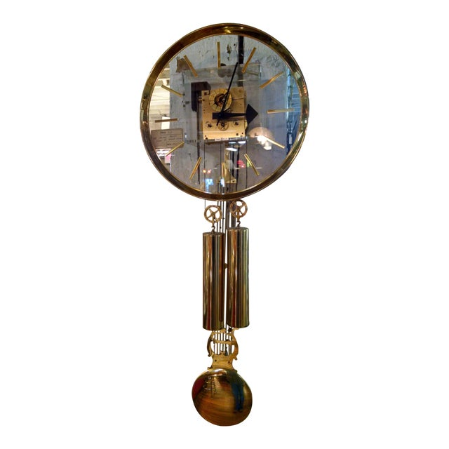 Howard Miller Lucite & Brass Chiming Pendulum Wall Clock - Image 1 of 7