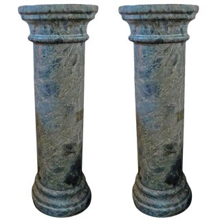 19th Century French Neoclassical Style Marble Pedestals- A Pair For Sale