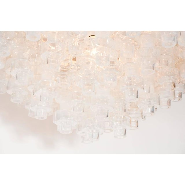 Silver Modernist Opalescent and Clear Murano Glass Barbell Chandelier For Sale - Image 8 of 10