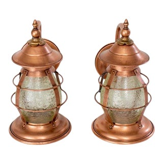 Early 20th Century Arts and Crafts Copper Exterior Sconces with Amber Glass - a pair For Sale