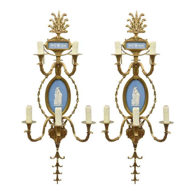 Pair of Cast Brass Wedgewood Sconces For Sale - Image 12 of 12