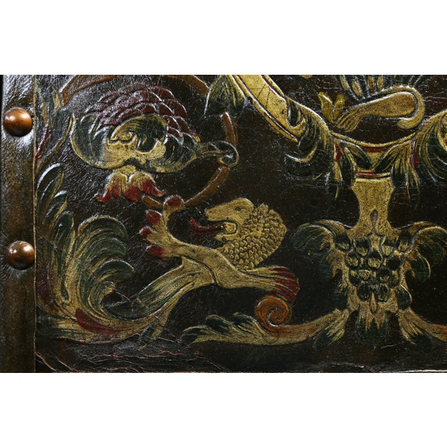 European Embossed Leather Four-Panel Screen For Sale - Image 4 of 6