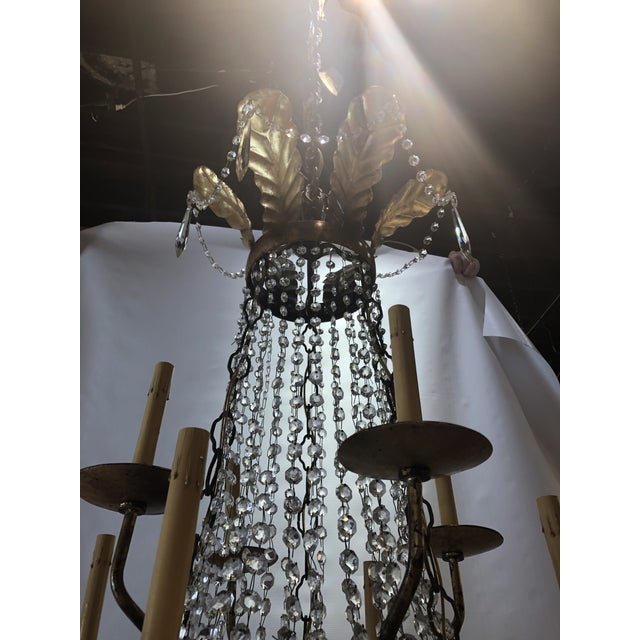 Gold Vintage French Gilt and Crystal 24 Arm Chandelier For Sale - Image 8 of 13