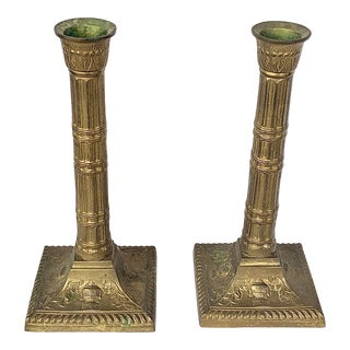 Vintage Brass Neoclassical Style Candlesticks For Sale