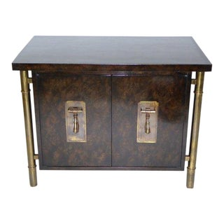 1970s Mid-Century Modern Bernhard Rhone Mastercraft Elegant Burled Amboyna and Brass Nightstand For Sale