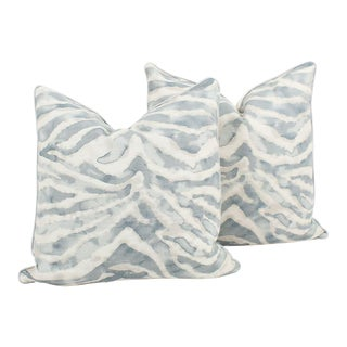 Light Blue and Ivory Nairobi Zebra Linen Pillows, a Pair For Sale
