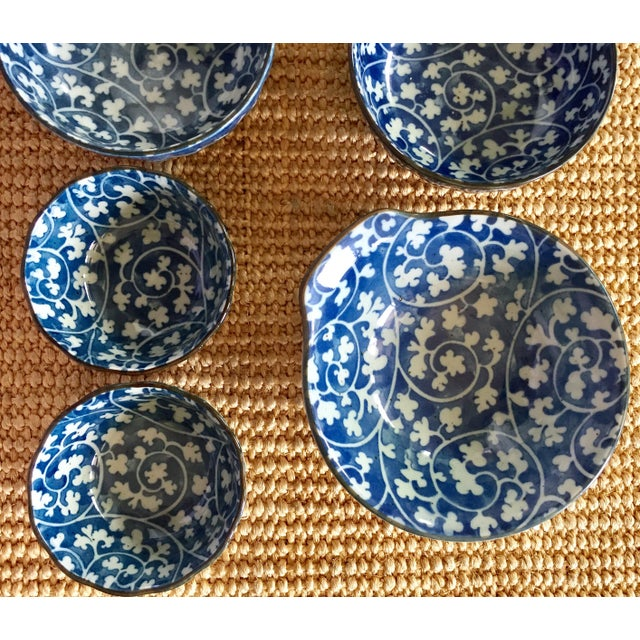 Japanese Blue & White Ceramic Bowls - Set of 10 - Image 9 of 10