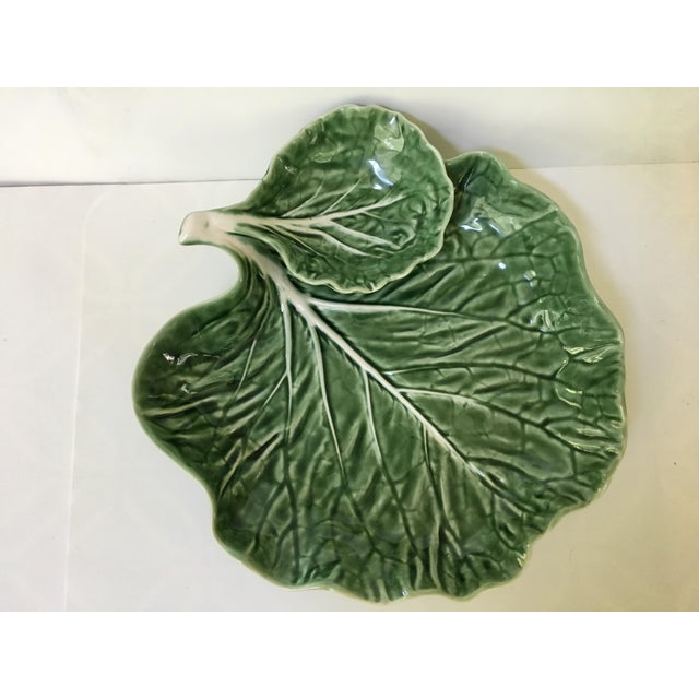 Made in Portugal-Majolica Green Cabbage Leaf Serving Platter and Dip Bowl For Sale - Image 9 of 11