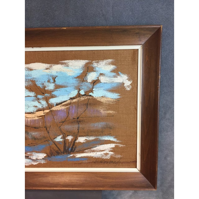 Mid Century Modern Burlap Painting by Levente Kovacs For Sale - Image 5 of 11