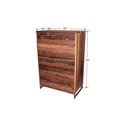 Brown Vern Rustic Wooden 5 Drawer Chest for Bedroom For Sale - Image 8 of 8
