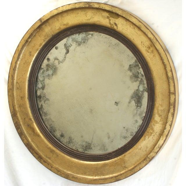 Suzanne Bonham Round Gilded Antiqued Mirror - Image 2 of 6