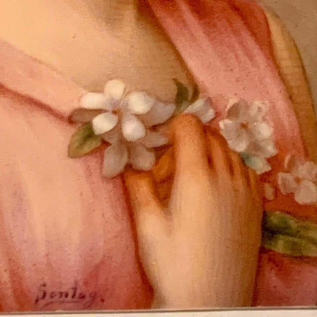 Traditional Fine German Painting on Porcelain of a Garden Muse For Sale - Image 3 of 13