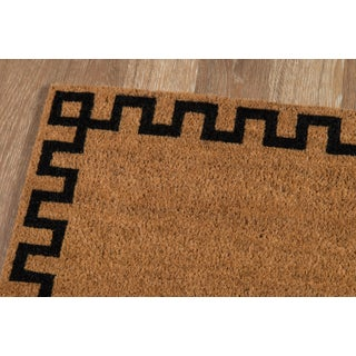 Modern Erin Gates by Momeni Park Greek Key Natural Hand Woven Natural Coir Doormat- 1′6″ × 2′6″ Preview