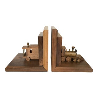Train and Caboose Wood & Brass Bookends - A Pair For Sale