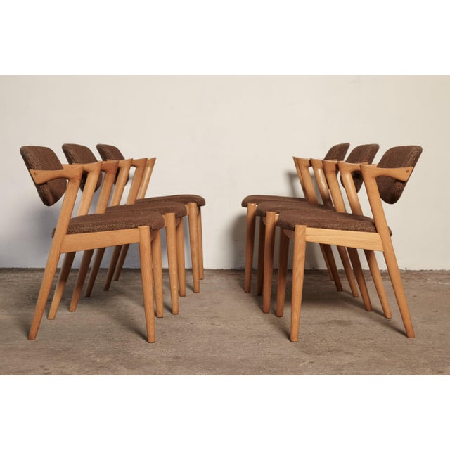 Mid 20th Century Set of Six Model 42 Oak Dining Chairs by Kai Kristiansen, Denmark, 1960s For Sale - Image 5 of 9