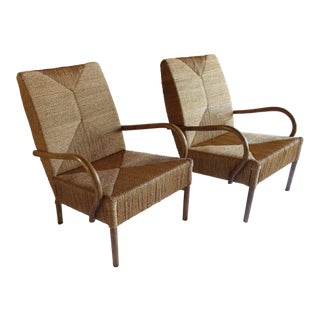 1960s Mid Century Modern Woven French Audoux Minet Style Rattan Rope Arm Chairs - a Pair For Sale