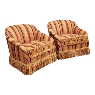 Pair Custom Made & UpholsteredSwivel Fringed Club Chairs For Sale