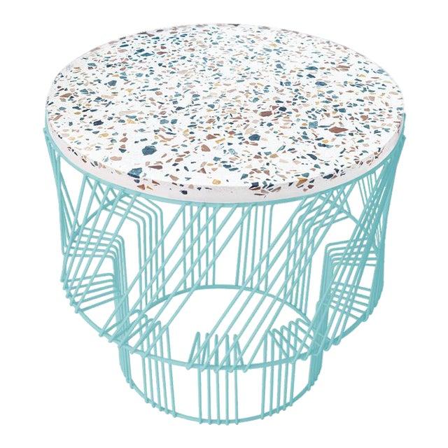Contemporary Indoor/Outdoor Terrazzo Table in Aqua Turquoise For Sale