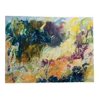 """1990s """"Well Being"""" Ellen Reinkraut Abstract Landscape Painting For Sale"""