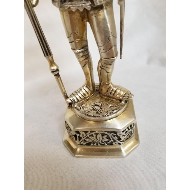 19th Century Sterling & Vermeil Silver Knight W/ Staff Flag, Germany For Sale In Los Angeles - Image 6 of 11