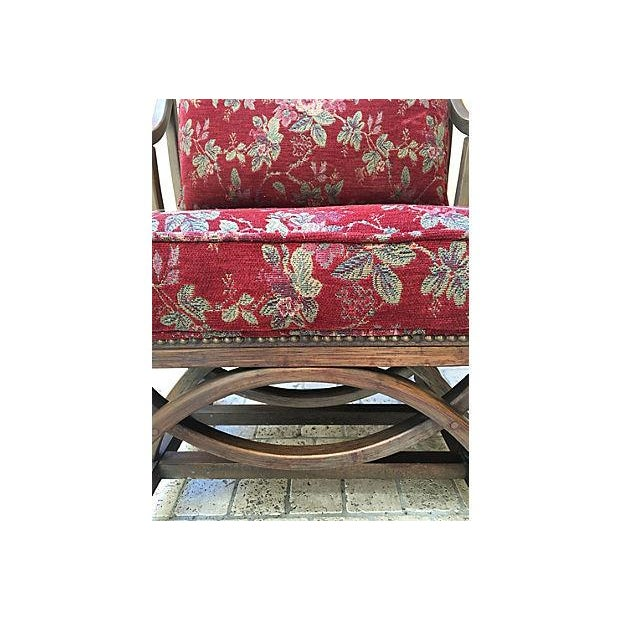 Shabby Chic Red Floral Barrel Chair For Sale - Image 3 of 6