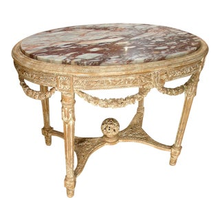 Antique Parcel Paint Louis XVI Center Table With Musical Motifs For Sale