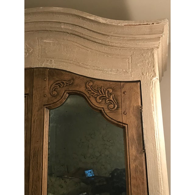 Brown Acid Wash Mirrored Armoire For Sale - Image 8 of 12