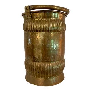 Vintage Brass Bucket/Planter/Waste Basket For Sale