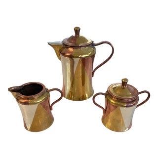 Antique Metal Los Castillo's Mexican Coffee Set - Set of 3 For Sale