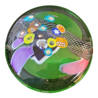 Millefiori Design Contemporary Hand Blown Glass Disk For Sale