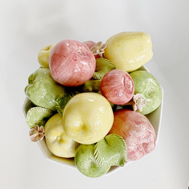 Beautiful Vintage Italian Majolica Ceramic Pottery fruit platter centerpiece. Soft colors in pastel shades of pink, green...