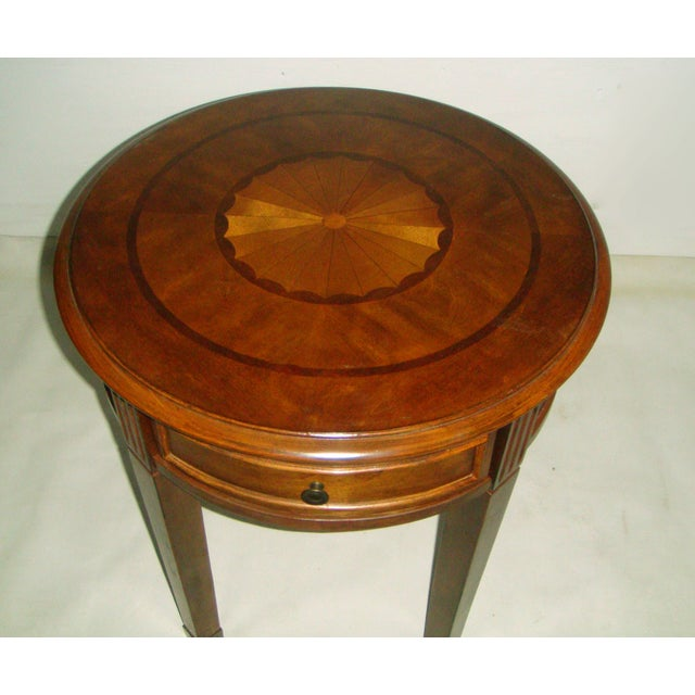 Round Side Table with Inlaid Top - Image 3 of 7