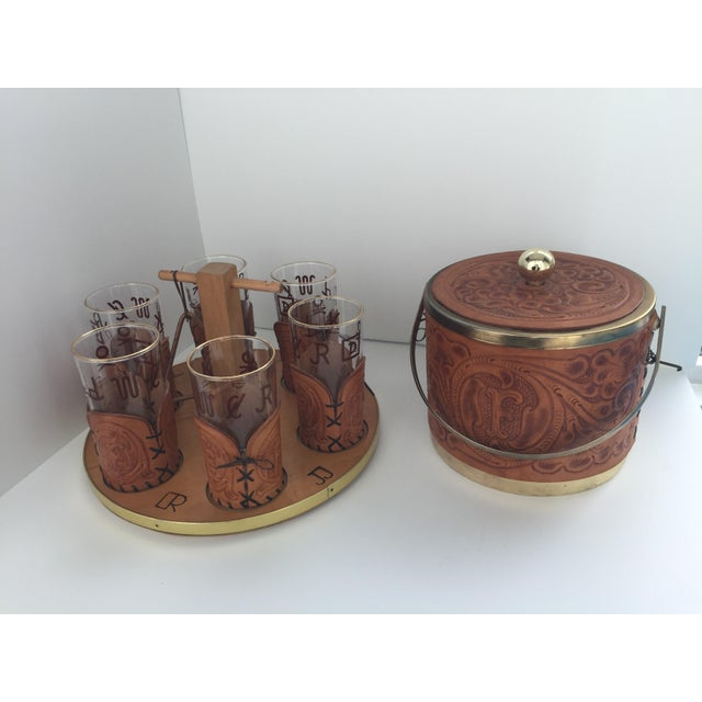 Custom M. L. Leddy HandTooled Leather Western Drink Set With Ice Bucket and Caddy For Sale - Image 10 of 10