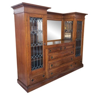 20th Century Arts and Crafts Oak Side by Side Leaded Glass Bookcase Chest For Sale