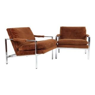 Thayer Coggin Mid Century Flatbar Chrome Lounge Chairs - Pair For Sale
