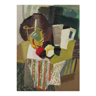 Mid Century Modern Cubist Still Life, Oil on Paper, 1943