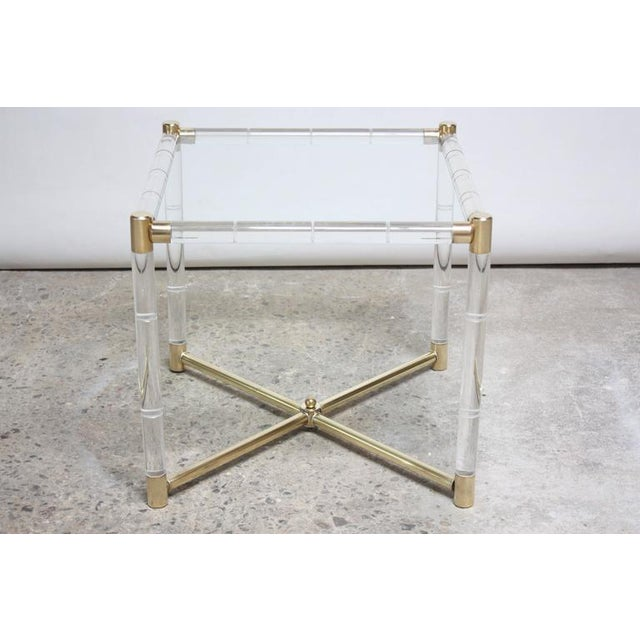 Charles Hollis Jones Lucite Faux-Bamboo and Brass Side Table - Image 2 of 10