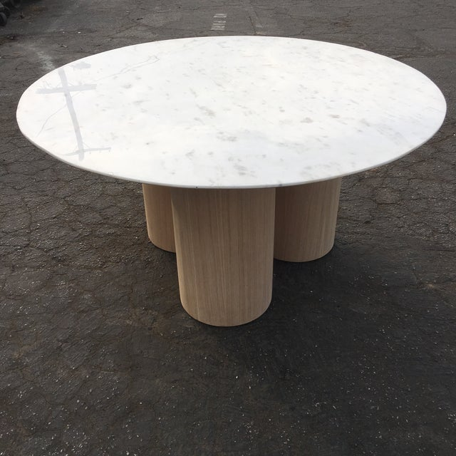 Contemporary Oversized Pillar Marble Dining Table in White Oak For Sale - Image 3 of 13