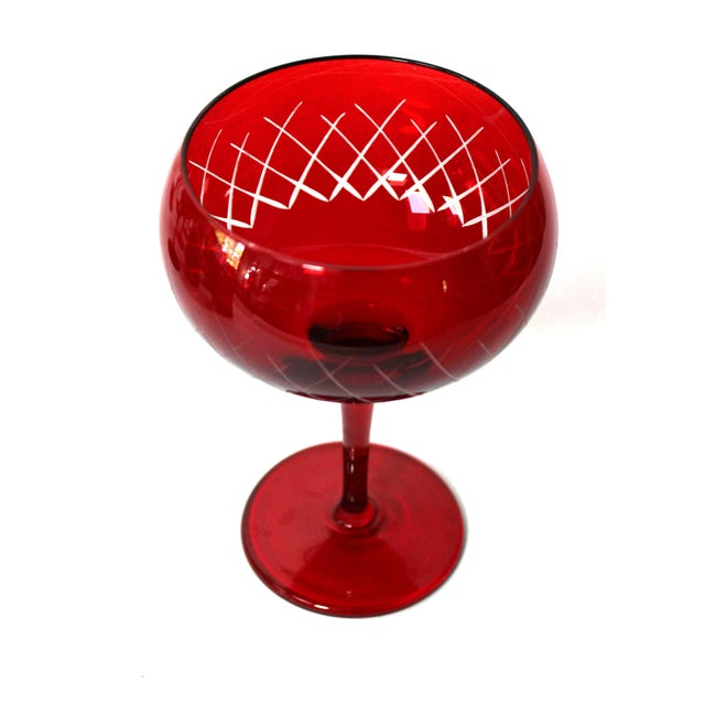 French Antique Cut Cranberry Wine Goblets & Lowball Glassware, Set of 16 For Sale - Image 3 of 7
