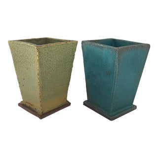 Hand-Built Modernist Pottery Planters- a Pair For Sale