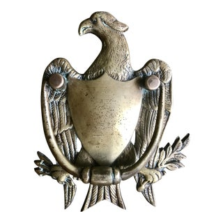Antique Brass Eagle and Crest Door Knocker & Hardware For Sale