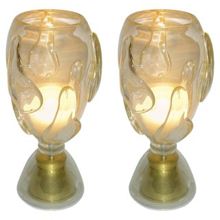 Constantini 1980s Italian Modern Brass and Gold Murano Glass Lamps - a Pair For Sale