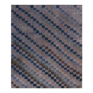 Vintage Mid-Century Purple and Blue Wool Rug- 5′9″ × 6′9″ For Sale