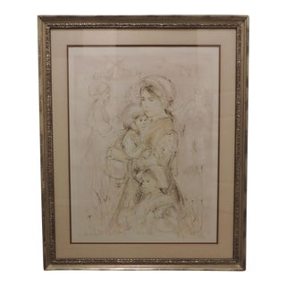 "Edna Hibel Plotkin ""Petra mit Kinder"" Signed Print"